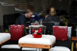 Tafeltje met sneeuw