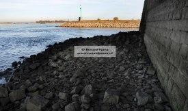 Langs de brugpijler van de Waalbrug zijn de stenen zichtbaar die altijd onder water staan.