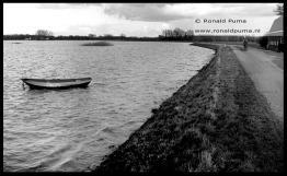 Water staat hoog tegen de dijk in de Oude Waal/Ooijpolder (1995).