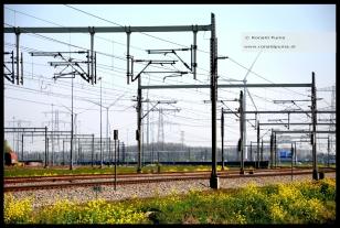 Landschap met spoorverbinding en windmolens. (Betuwelijn ten noorden van Nijmegen, Ressen/Oosterhout).