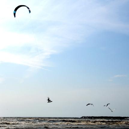 Kitesurfen.