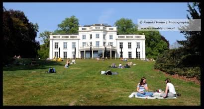 Netjes op afstand in het gras liggen in park Sonsbeek.